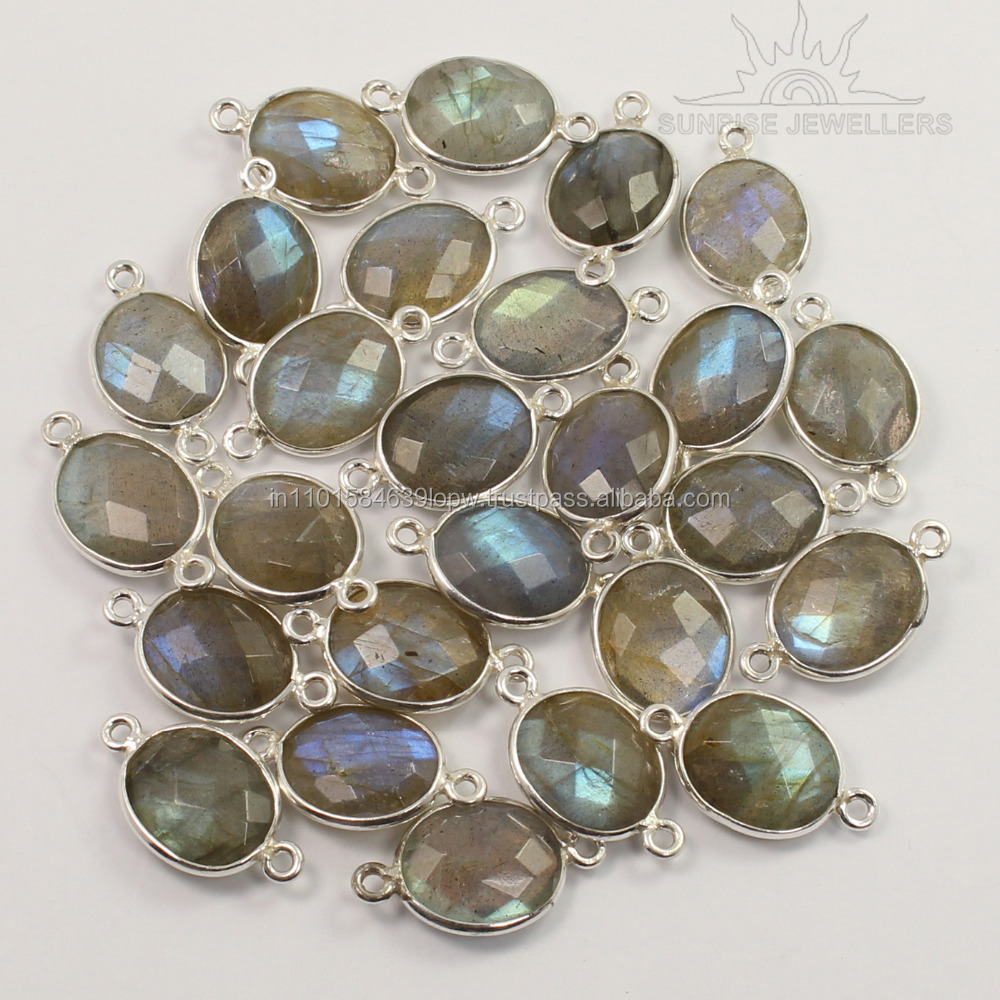 Connectors For Bracelet 925 Solid Sterling Silver Natural LABRADORITE Gemstones