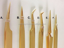 Gold Plated Eyelash Extension Tweezers , Eyelash Extension Tools, Wholesale Tweezers,