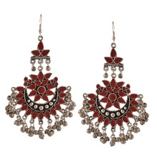 Zephyrr Fashion Oxidized Silver Afghani Tribal Dangler Hook Chandbali Earrings