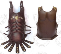 BROWN LEATHER MUSCLE ARMOR CUIRASS - GREEK MUSCLE ARMOUR LEATHER - COLLECTIBLE HALLOWEEN COSTUME