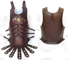 Brown Leather Dragon Emblem Roman Muscle Armor Cuirass - Collectible Larp Armor Halloween Gift