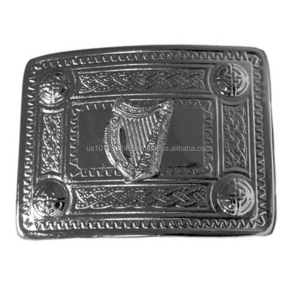 Harp Design Kilt Belt Buckle In Chrome Finished Made Of Brass Material