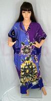 Caftan, Midi Dress, Resort Wear, Coverup /Maternity DressBatik Kaftan V- Neck Long Purple Blue Yellow Floral.