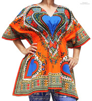 Ladies Dashiki Festival African Shirt With Elastic Pull In Waist Open Collar 100% Cotton