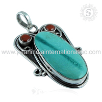 Vintage trendy offers of natural gemstone pendant online 925 sterling silver jewelry women fashion handmade silver jewelry