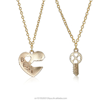 "New Fashion Necklace Link Cable Chain Gold Plated Broken Heart Lock & Key Message "" BEST FRIENDS "" Pendants 45.3cm long, 1 Set"