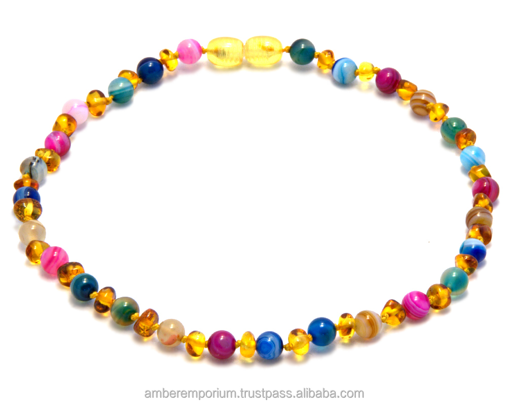 Top quality baby teething necklaces from natural Baltic amber.