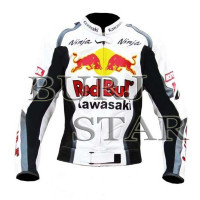 Kawasaki RedBull Motorbike Racing Leather Jacket - High Quality, 100% Cowhide Leather