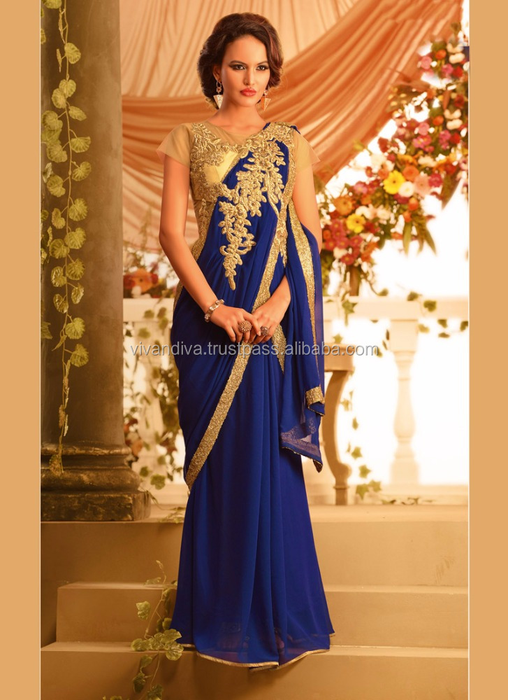 Royal Blue Color Evening Gown Designs For Girl