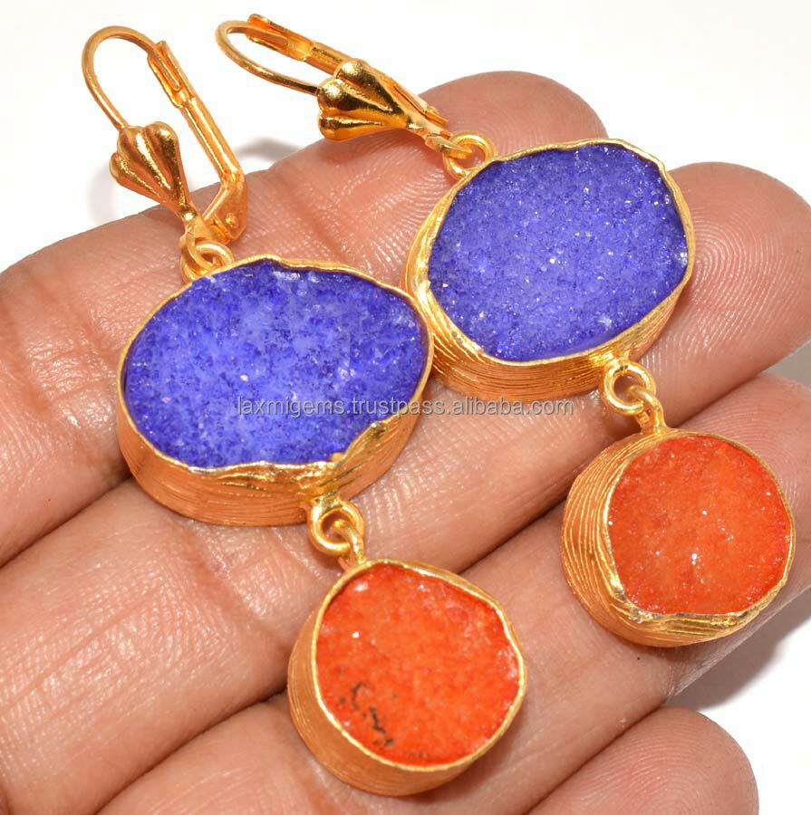 Lavender And Orange Color Durzy Hand Made 925 Sterling Silver Gemstone Earring Jewelry