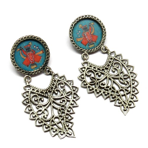 Vintage Shree Nath Ji Glass Oxidized 925 Sterling Silver Earring, Wholesale Silver Jewelry, Oxidized Silver Jewelry