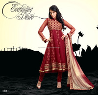 Heavy resham embroidery work and santoon salwar with designer dupatta anarkali suit