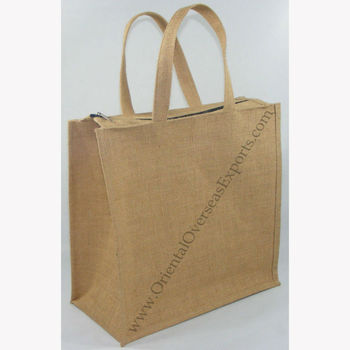 long lasting, custom printed, laminated jute bag with zipper