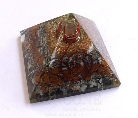 Yellow Jasper Orgone Layer Aluminium Pyramid | Orgonite Yellow Jasper Aluminium Pyramid (With Point) | Pyramid Meditation