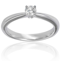 Natural Real 0.30Cts Solitaire Diamond Ring I-1/G with no black inclusion in 10k White Gold at Factory Price