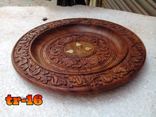 carved wood plate with brass inlay work