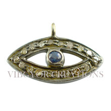 14K gold blue sapphire evil eye pave setted pendant blue eyes hot 925 sterling silver finding charm pendant