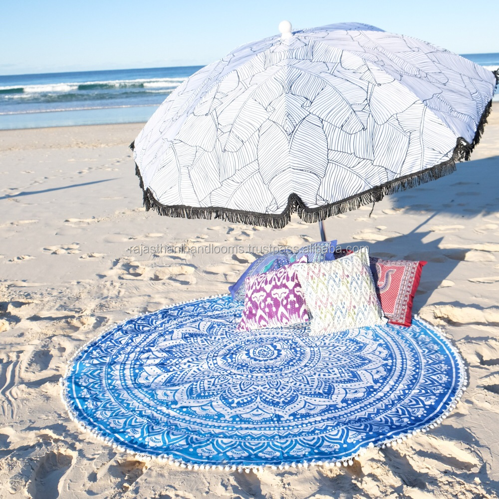 "48"" Indian Roundie Round Blue Ombre Pom Pom Mandala Hippie Tapestry Beach Throw Towel Yoga Mat Bohemian"