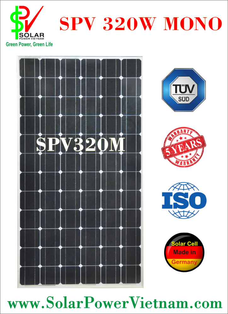 SPV 320w Monocrystalline Solar Panel with tempered glass for grid-on/off solar system certificated by ISO 9001 - 2008