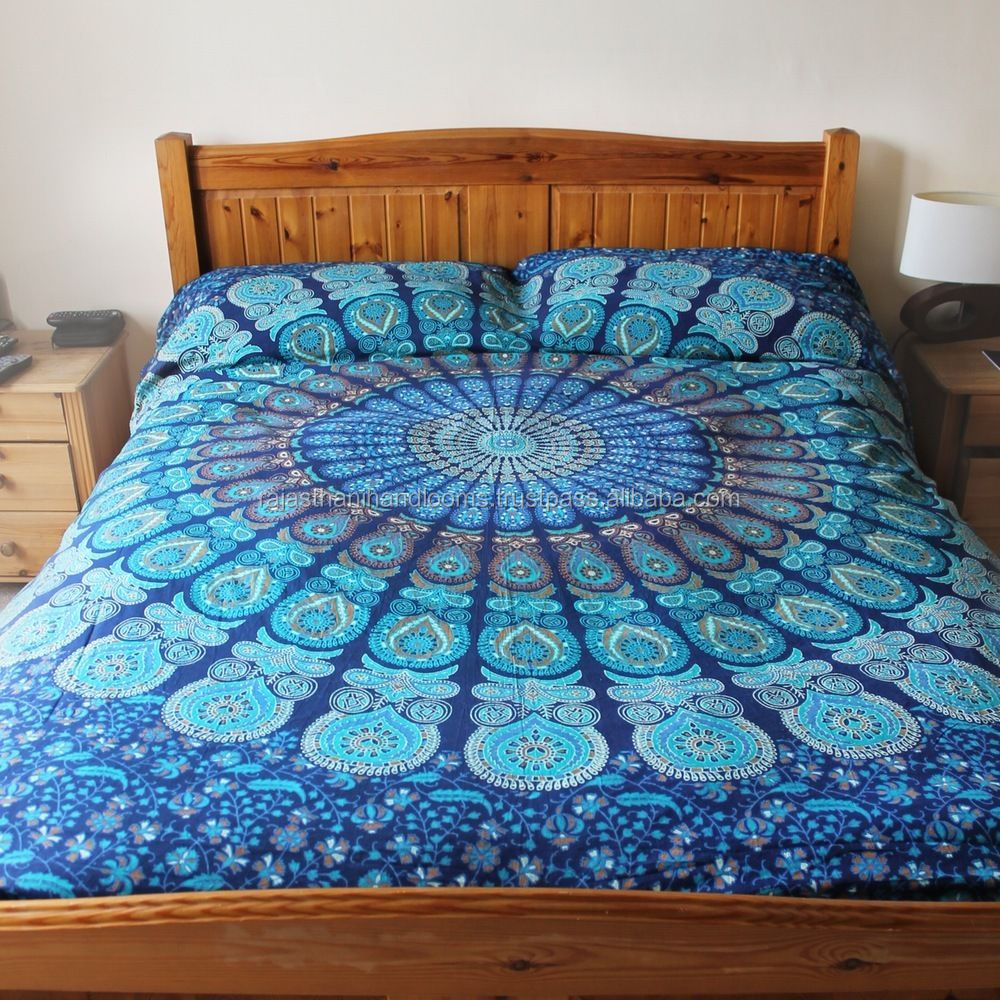 Indian Mandala Duvet / Doona Cover Quilt Covers Throw Hand Screen Printed With Pillow Covers