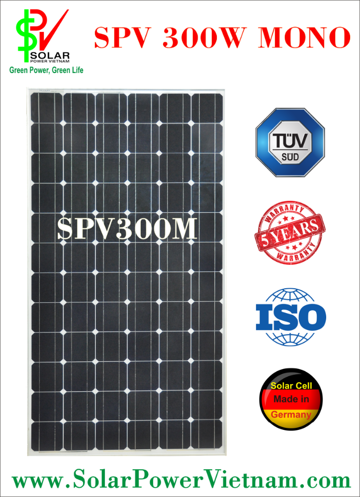 SPV 300w Monocrystalline Solar Panel with tempered glass for grid system certificated by ISO 9001 - 2008