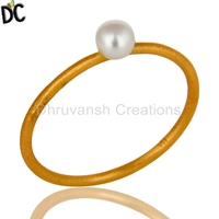18K Yellow Gold Plated Sterling Silver Natural White Pearl Stackable Ring