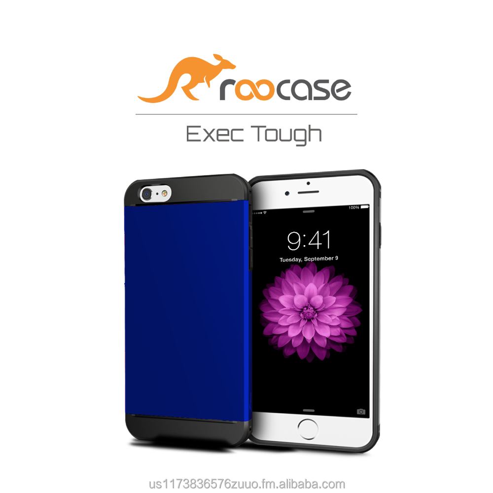 2016 Top Quality rooCASE Exec Tough Bumper TPU PC Armor case for iPhone 6 6s Plus 5.5 inch Whole sale (Blue)