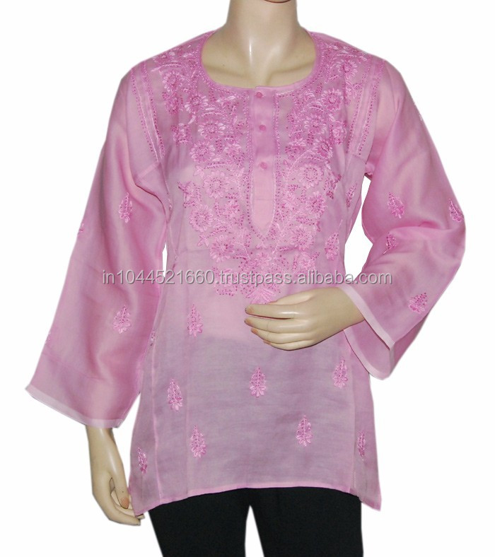 Lucknow Embroidered Chikan Tops