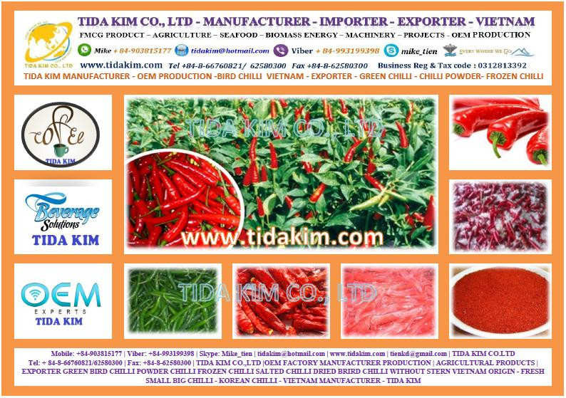 RED GREEN SMALL BIG CHILLI WITHOUT STERN DRIED CHILLI SALTED CHILLI POWDER- TIDA KIM MANUFACTURER - IQF USED FROZEN CHIILI
