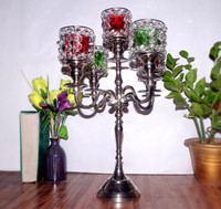 CANDLE HOLDER 5 ARMS CANDLE STAND WITH GLASS VOTIVE