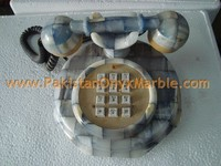 FINE QUALITY ONYX PATCH WORK TELEPHONE SET