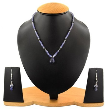 "16"" Long 1 Strand Tanzanite with Blue Sapphire 3-4mm Gemstone Beads Necklace In New York"
