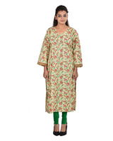 Plus Size Women's Off White Cotton V-Neck Kurti ( DMK_00071 )