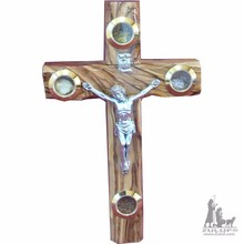 Zuluf 16 cm Wall Catholic Cross Olive Wood Christian Gift Metal Crucifix - CRS044