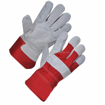 10.5 inch cow grain+cowsplit leather working gloves with double palm