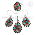 Charming Silver Jewelry Design Coral & Turquoise Jewelry Set Sterling Silver Jewelry Manufacture