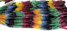Multi Precious Ruby Emerald Sapphire Beads 3-4mm Rondelle Faceted 8 inch Strand Beads