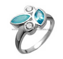 Colourful synthetic blue topaz gem silver ring Bangkok jewelry wholesale