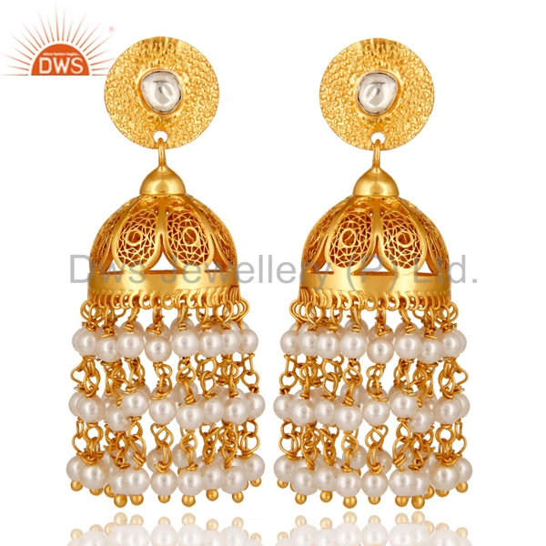 Traditional Jaipur Designer Gold Plated Silver Rings Natural Pearl Gemstone Traditional Jewelry Manufacturers