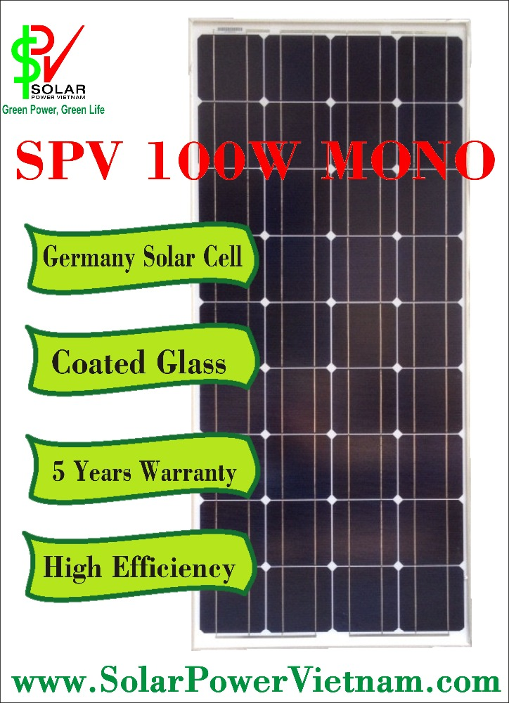 SPV 100w Monocrystalline Solar Panel with tempered glass for on-grid solar system certificated by TUV