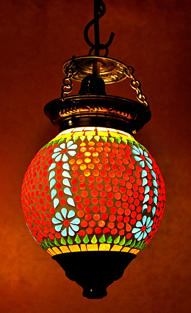 Home Decorative Ceiling Lamp Maroon Color Glass Lamp Shade