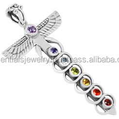 Wholesale Large Silver Plated Seven Chakra Stones Machetes Cross Charm Pendant