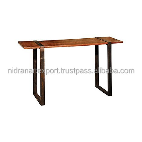 Industrial & vintage Iron metal & solid wood Folding Dining Table
