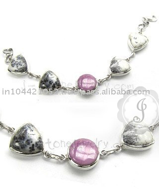 Phosphosiderite and Dendritic Agate Bracelet Silver Bracelet in Wholesale Price
