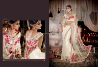 Net Off White Designer Saree/Boutique Sarees/Surat Wholesale Sarees