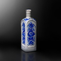 Ceramic souvenir bottle for wine, vodka, brandy, cognac 'Gzhel' hand-made cobalt paintings with floral pattern