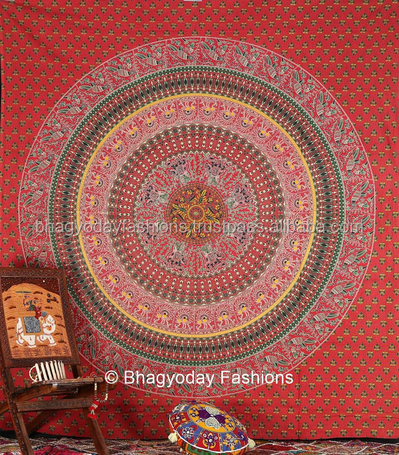 Indian Mandala Elephant Block Print Tapestry Bedsheet Hippie Bedspread Bohemian Bedcover Wall Hanging Decorative