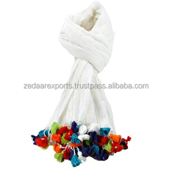 Cotton Multi Colour Long tassels Scarves CS3013