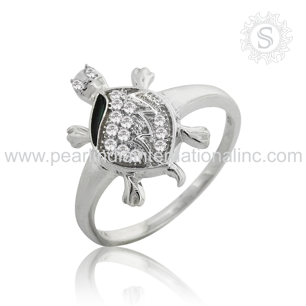 Specialized Turtle Ring 925 Sterling Silver White Cz Tortoise Jewelry Handmade Suppliers Whole Trendy