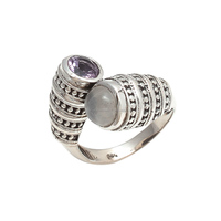 Awesome Handmade Rainbow Moonstone & Purple Amethyst Ring 925 Multi Stone Silver Plated